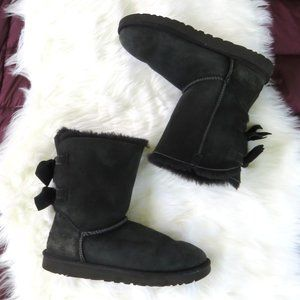 UGG Meilani Double Bow Boots Black Sz 10